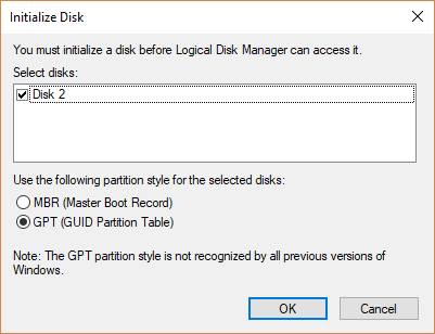 fix disk unknown not initialized